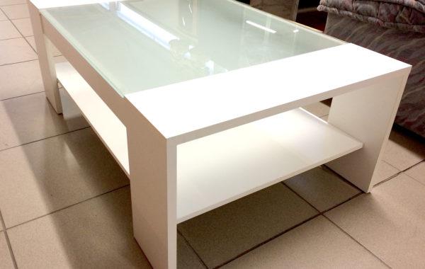 207 bílý konferenční stolek se sklem
