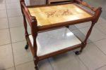 842 servírovací dubový stolek s mramorovou deskou 65x45x70cm vysoký -1450Kč