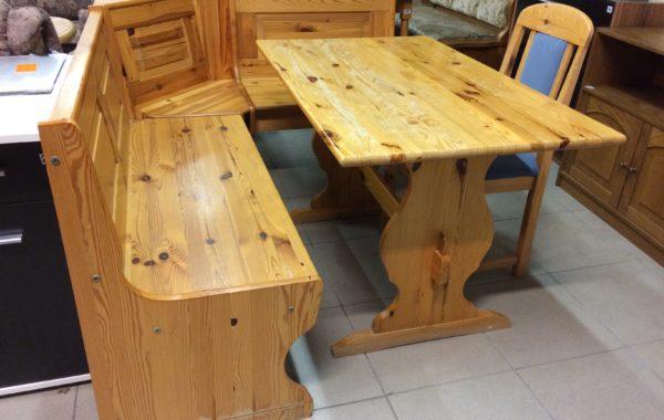885 borovicová lavice 173x133cm + stůl+židle za 3960Kč