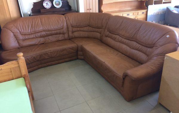 645 velká rohová kožená sedací souprava-270x250cm,hořčičný odstín ,cena 7650Kč