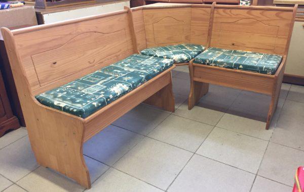 858 smrková rohová lavice s úl.prostorem 165x125cm ,bez laku,jen vosk za 2780Kč