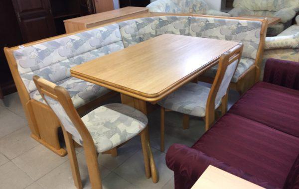 306 rohová dubová lavice 188x150cm s úl.prostorem,velký rozkládací dubový stůl a 2 židle za 5980Kč
