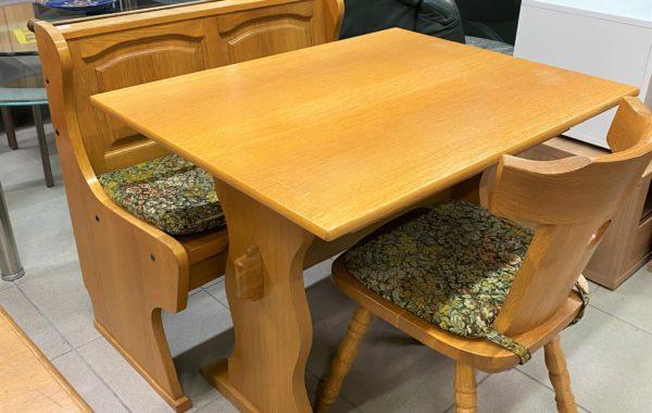 828 dubová lavička ,stůl a masívní židle za 2960Kč