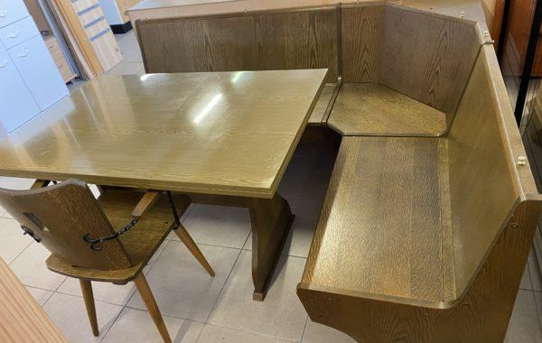 872 rohová lavice 187x147cm s úložným prostorem,rozkl.stůl a dubová židle za 3870Kč