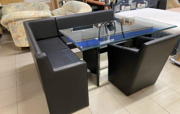 972 luxusní rohová lavice 160x210cm,polokřesílko a skleněný velký stůl 160x90cm ,černá ekokůže za 7870Kč
