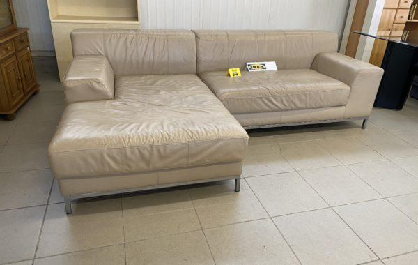 940 IKEA rohová kožená sedací souprava -kávový odstín 255x165cm za 4380Kč