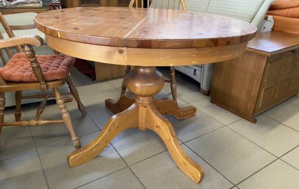 465 borovicový masívní kulatý rozkládací stůl prům 110cm ,po rozložení 160cm za 2470Kč