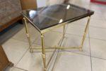726 mosazný leštěný stolek s tmavým sklem 60x40x57cm za 890Kč