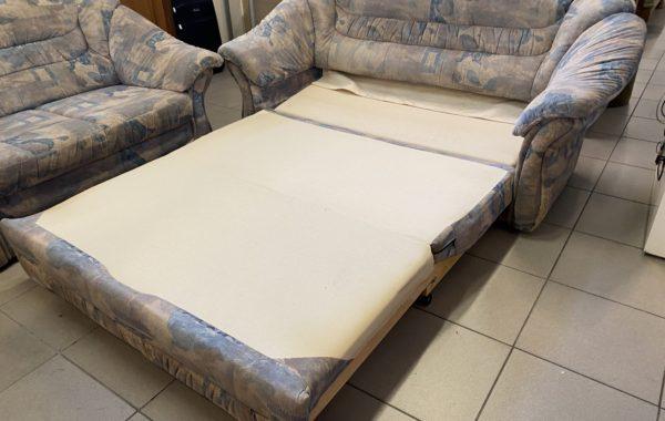 146 rozkládací sedací souprava šedý mikroplyš s úl.prostorem+taburet,pohovky 190+150cm,cena 4790Kč
