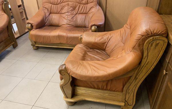 312 dubová sedací souprava 2+1+1 s hnědou kvalitní nappa kůží ,pohovka 150cm ,cena 6970Kč