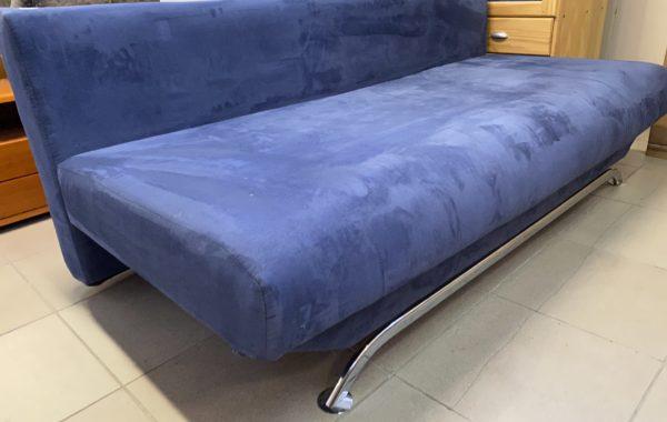 320 modrý mikroplyš-rozkládací pohovka 190cm s úl.prostorem za 2830Kč
