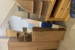 328 předsíňová sestava z čistého buku-skříň 40x40x200 a skříňka se zrcadlem 80x40x200+police 50x95cm za 2170+2170+450Kč